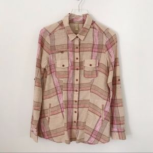 Free People linen blend hayride plaid button down